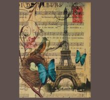 vintage paris eiffel tower music notes botanical art Kids Clothes