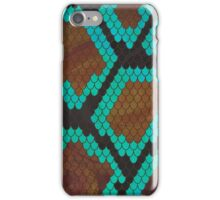 Snake Brown and Teal Print iPhone Case/Skin