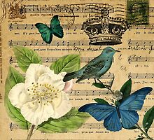 classic vintage butterfly rose music notes art by lfang77
