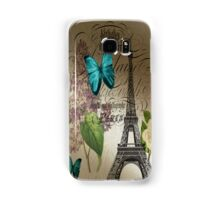 vintage paris eiffel tower butterfly lilac floral art  Samsung Galaxy Case/Skin