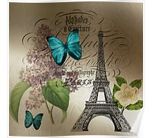 vintage paris eiffel tower butterfly lilac floral art  Poster