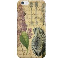 beach seashells hydrangea floral botanical art  iPhone Case/Skin