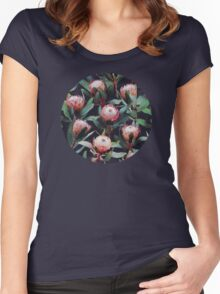 Evening Proteas - Pink on Charcoal Women's Fitted Scoop T-Shirt