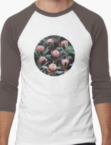 Evening Proteas - Pink on Charcoal Men's Baseball ¾ T-Shirt
