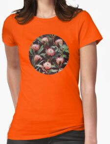 Evening Proteas - Pink on Charcoal Womens Fitted T-Shirt