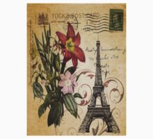 vintage retro paris eiffel tower lily floral botanical art One Piece - Long Sleeve