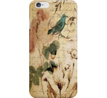 vintage bird roses floral botanical art  iPhone Case/Skin