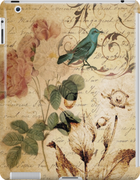 vintage bird roses floral botanical art  by lfang77