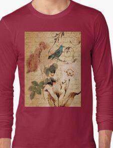 vintage bird roses floral botanical art  Long Sleeve T-Shirt