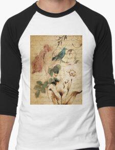 vintage bird roses floral botanical art  Men's Baseball ¾ T-Shirt