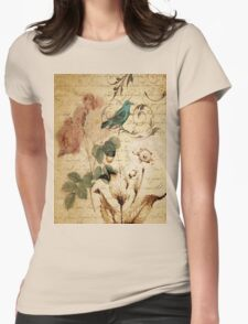 vintage bird roses floral botanical art  T-Shirt