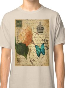 vintage butterfly hydrangea floral botanical art Classic T-Shirt