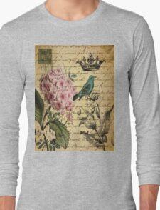 vintage paris hydrangea floral botanical art Long Sleeve T-Shirt