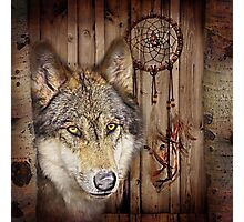 western country native dream catcher wolf art Photographic Print