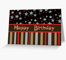 Happy Birthday stars and stripes Greeting Card