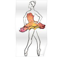 ballerina figure, watercolor illustration Poster