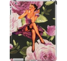 vintage purple roses pin up girl iPad Case/Skin