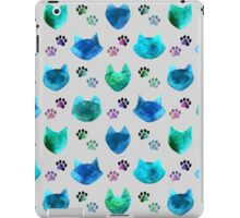 Watercolor Cat Heads - shades of blue & green on slate grey iPad Case/Skin