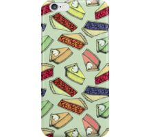 Easy As Pie - cute illustrations of pie on sage green  iPhone Case/Skin