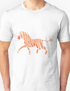 Zebra Orange and White Print T-Shirt