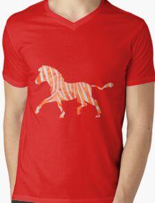 Zebra Orange and White Print Mens V-Neck T-Shirt