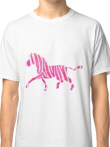 Zebra Hot Pink and White Print Classic T-Shirt