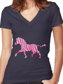 Zebra Hot Pink and White Print Women's Fitted V-Neck T-Shirt