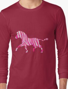 Zebra Hot Pink and White Print Long Sleeve T-Shirt