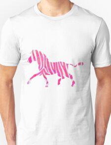Zebra Hot Pink and White Print Unisex T-Shirt