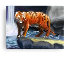 Tiger by Water Canvas Print