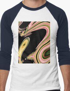 modern abstract black green neon pink swirls Men's Baseball ¾ T-Shirt