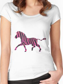 Zebra Black and Hot Pink Print Women's Fitted Scoop T-Shirt
