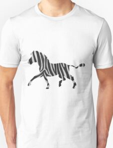 Zebra Black and Light Gray Print T-Shirt