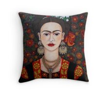Frida Kahlo with butterflies pillow or tote bag Throw Pillow