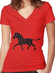 Zebra Black and Gray Print Women's Fitted V-Neck T-Shirt