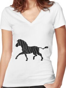Zebra Black and Gray Print Women's Fitted V-Neck T-Shirt