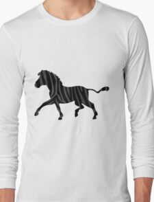Zebra Black and Gray Print Long Sleeve T-Shirt