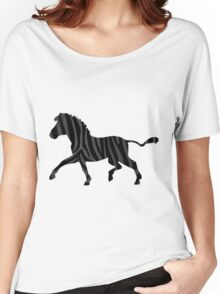 Zebra Black and Gray Print Women's Relaxed Fit T-Shirt