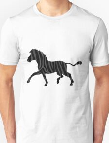 Zebra Black and Gray Print T-Shirt