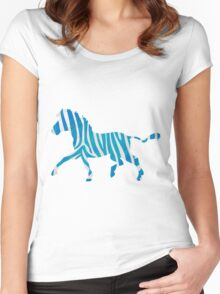 Zebra Blue and White Print Women's Fitted Scoop T-Shirt