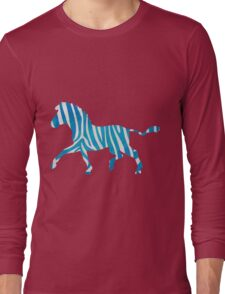 Zebra Blue and White Print Long Sleeve T-Shirt