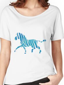 Zebra Blue and White Print Women's Relaxed Fit T-Shirt