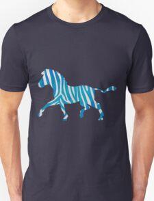 Zebra Blue and White Print Unisex T-Shirt