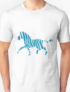 Zebra Blue and White Print T-Shirt