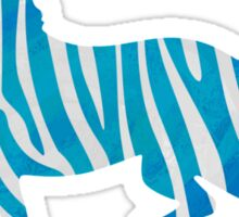 Zebra Blue and White Print Sticker