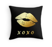 Gold Lips XOXO Hugs and kisses (Black) Throw Pillow