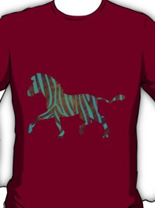 Zebra Brown and Teal Print T-Shirt