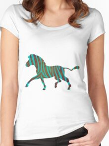 Zebra Brown and Teal Print Women's Fitted Scoop T-Shirt