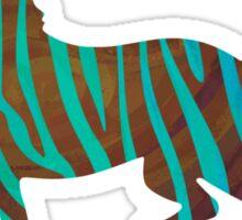 Zebra Brown and Teal Print Sticker