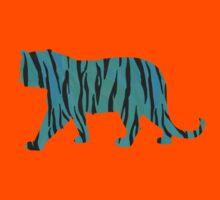 Tiger Black and Teal Print Kids Tee